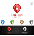 pin healthy food logo for restaurant or cafe vector image vector image