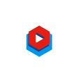 play button icon sign digital logo vector image