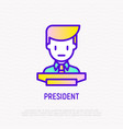 president at tribune line icon vector image
