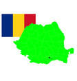 romanian map and flag set vector image vector image