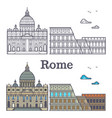 rome buildings - line cathedral and coliseum vector image vector image