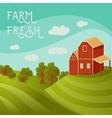 rural landscape with farmhouse fields and trees vector image vector image
