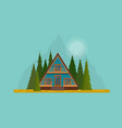 secluded wooden hut in middle fir forest vector image vector image