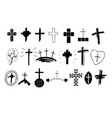 set 20 christian icons with crosses symbols vector image