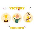 set of winner badges girl with golden trophy vector image