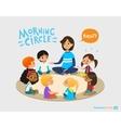 Smiling kindergarten teacher talks to children vector image vector image