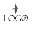 swallow icon and lettering logo vector image