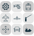 transport icons set with navigation cargo boat vector image