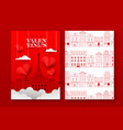 valentines day red paris city paper cut card set vector image