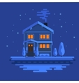 Winter scene with european city at night time vector image