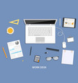 workspace flat desktop design with business icons vector image vector image