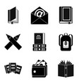 writer icons set simple style vector image