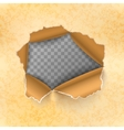 Torn hole in yellow sheet of old paper vector image