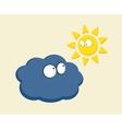 Funny cartoon sun and cloud looking vector image