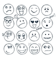 set of hand drawn faces moods isolated vector image