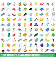 100 trophy and awards icons set isometric style vector image vector image