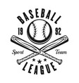 ball and two baseball bats vintage black emblem vector image vector image