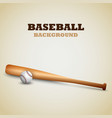 baseball background with bat and ball template vector image