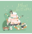 Birthday background with happy animals vector image vector image