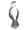 black-and-white bird in floral style vector image vector image