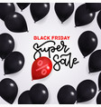 black friday quare banner with balloons vector image vector image