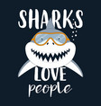 card with shark isolated on black marine animals vector image vector image