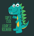 cartoon cute monster dinosaur funny green dragon vector image