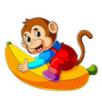cartoon monkey riding big banana vector image vector image