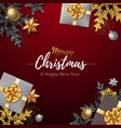 christmas poster with golden christmas snowflakes vector image