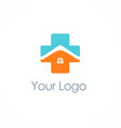 cross medic house hospital logo vector image