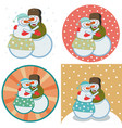 cute snowmen hugging vector image vector image