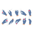doctor hands with vaccine nurse hand in medical vector image vector image