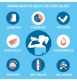 Drinking water for healthcare icons set vector image