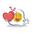 fried egg character cartoon with heart vector image vector image