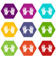 gardening gloves icons set 9 vector image