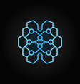 geometric digital brain blue line icon vector image
