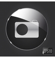 Glass photo button icon on metal background vector image vector image
