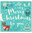 Greeting Holiday card with raccon deer penguin vector image vector image