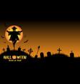 halloween graveyard background vector image vector image