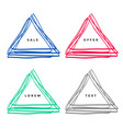 hand drawn scribble triangle set vector image vector image