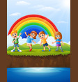 happy kids playing beside a river vector image