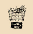 healthy food logo farm eco products vector image vector image