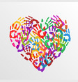 heart handprints vector image vector image