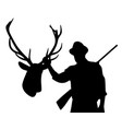 hunter with rifle holding stuffed deer head vector image vector image