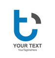 initial letter t logo template colored blue black vector image vector image