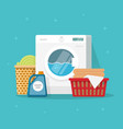 laundry machine with washing clothing and linen vector image vector image