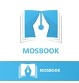 logo combination of a book and pen vector image vector image