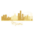 Miami City skyline golden silhouette vector image vector image