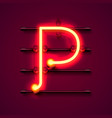 neon font letter p art design signboard vector image vector image