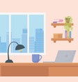 office workplace desk laptop coffee cup lamp vector image vector image